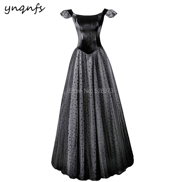 YNQNFS M163 Black Velvet Formal Dress Prom Vintage Polka Dot 50s 60s  Princess Mother of the Bride Dresses Party Guest 2019 f6378387cbeb
