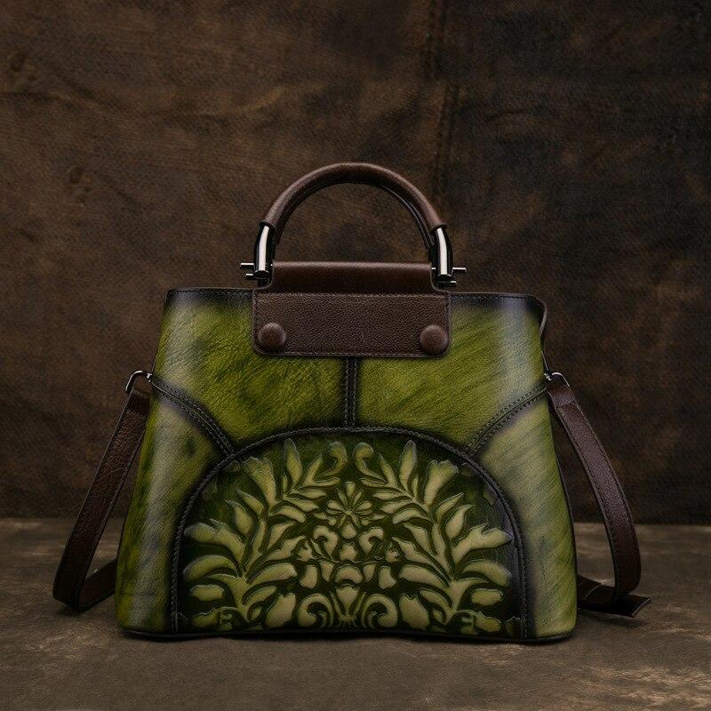 Natural Skin Top Handle Crossbody Tote Bags Vintage Female Genuine Embossed Leather Women Messenger Shoulder Bag Handbag