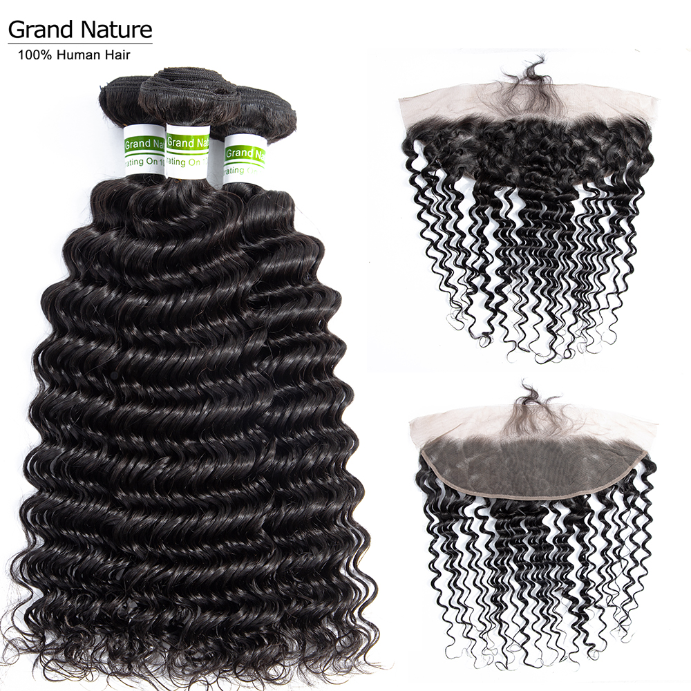 Malaysian Deep Wave Hair Bundles With Closure 13x4inch Natural Color Lace Frontal Closure With Bundles Remy 4pcs Pineapple Wave