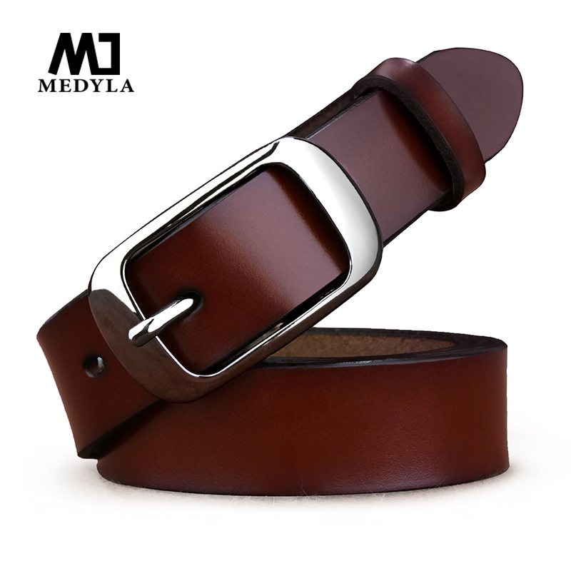 MEDYLA Women's Leather Belt Noble Blac Buckle Natural Leather Belts For Women Simple Casual Decorative Waist Belt ZK037 Dropship