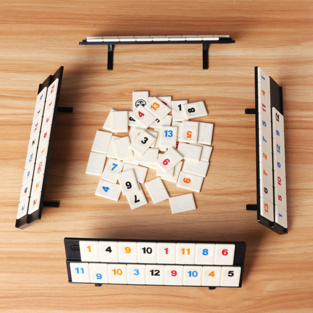 Parent-child Interactive Toys Games Portable Digital Board Game Israel Mahjong Rummikub 106 Tiles Family Travel Digital Puzzle