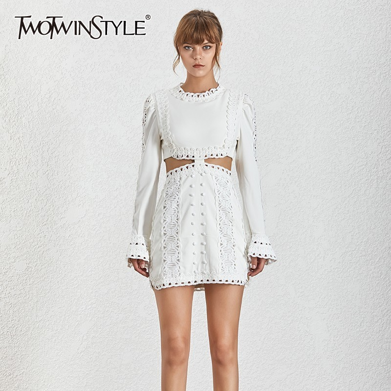 TWOTWINSTYLE Spring Women s Dresses O Neck Butterfly Sleeve Lace Embroidery Hollow Out Zipper A Line