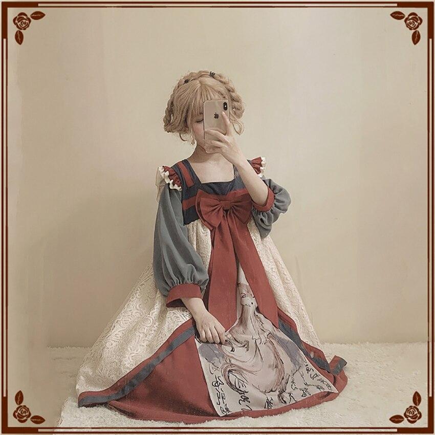 Lolita robe pour femmes fête renard encre Style campagnard Style chinois Vintage nœud papillon doux robes princesse Kawaii fille victorienne