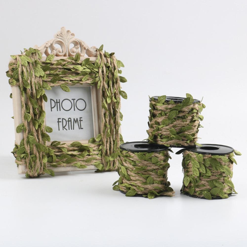 2019 New 10M/Lot Artifical Leaf Natural Hessian Jute Twine Rope Burlap Ribbon DIY Craft Vintage For Home Decoration