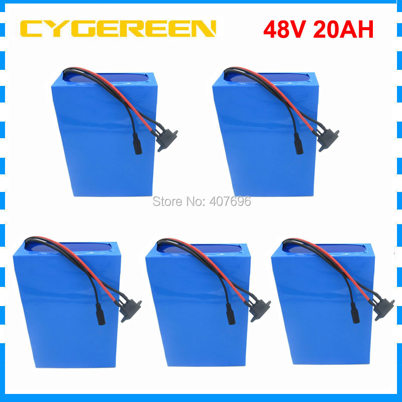 5PCS Wholesale 48Volt electric bike battery 48V 20AH 1000W Lithium battery 48V20AH scooter battery with BMS 54.6V 2A charger 1200w 48v scooter battery electric bike battery 48v 20ah lithium ion battery pack with pvc case 30a bms 54 6v 2a charger