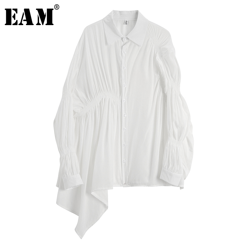 [EAM] 2019 Autumn Winter Woman New Solid Color Long Sleeve Turn-down Collar Spliced Pleated Loose Single Breasted Shirt LI482