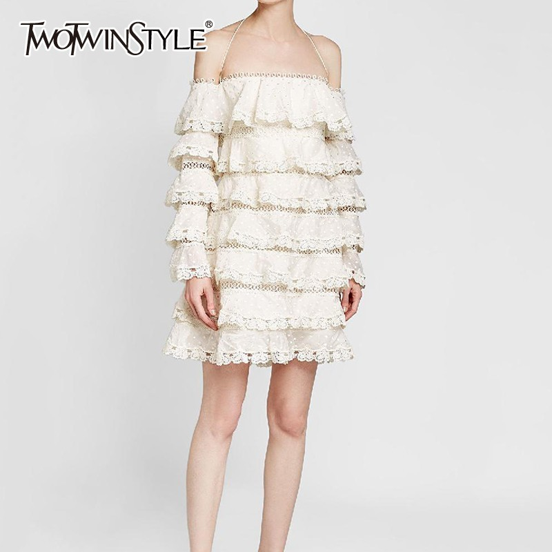 TWOTWINSTYLE Spring Lace Dresses For Women Slash Neck Off Shoulder Long Sleeve More Layer Mini Dress