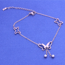 Chic Elegant Rose Gold Color Hollow Butterfly Tassel Foot Chain Fashion Crystal Anklet Charms Jewelry Birthday Gifts For Women