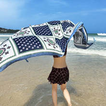 hot deal buy female cotton and linen print faux silk scarf seaside sunscreen large shawls beach towels women's summer wraps scarves 180*110cm