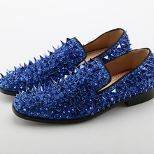blue mocassion spiked loafers gold dress shoes men leather rivets slip on  wedding designer shoes zapatos 59270777a4e8
