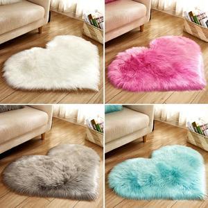 Image 4 - Lovely Sweet Love Heart Shape Carpet Faux Fur Antiskid Doormats Floor Rugs Decor for Bedroom Kitchen Living Room #125