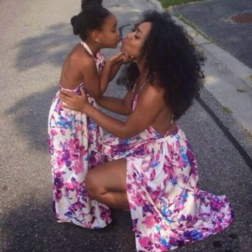 Family Clothes Mother Daughter Dresses Women Kids Girls Casual Long Maxi Dress