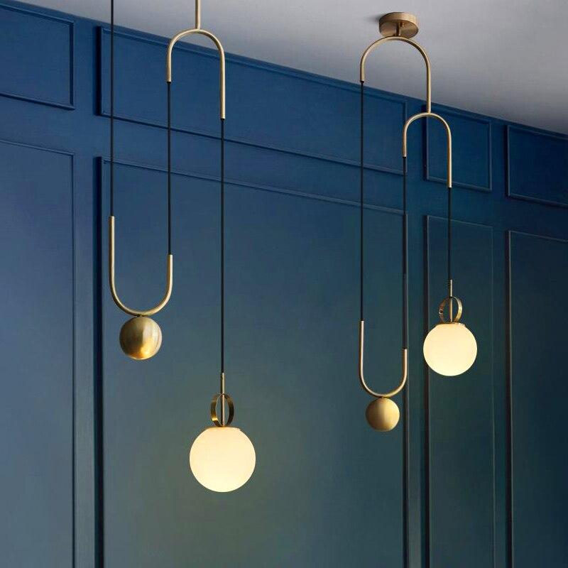 Modern LED Pendant Lights Metal Lamp Dining Room Bar Bedroom Lounge Lifting Glass Ball Hanging Fixtures