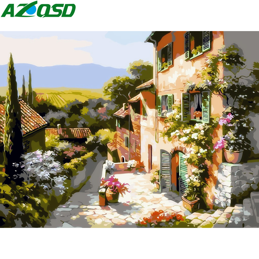 AZQSD Landscape DIY Frameless Oil Painting By Numbers Courtyard Scenery Picture Canvas Painting For Living Room Wall Art SZGD140