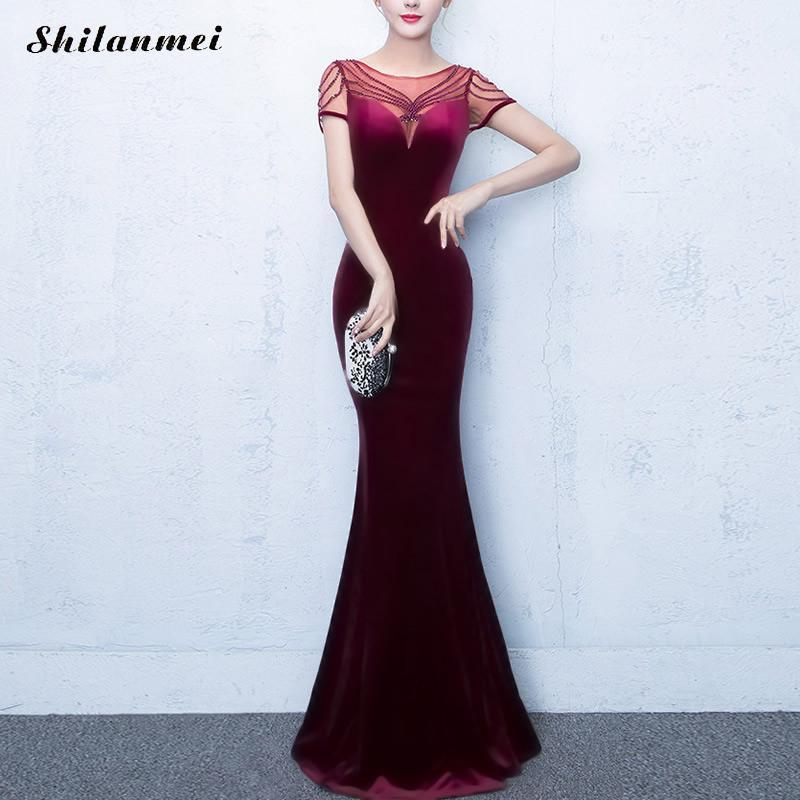 Shilanmei Longue Maxi Robes 2017 Femmes Sexy Jamais Jolie Perles V Cou De Mariage Événements Rouge Noir Bule Dentelle Sheer Maxi robe