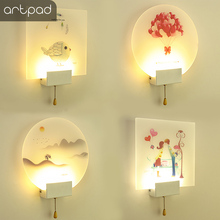 New Arrival Modern Colorful Paint Indoor Wall Lamp Romantic Dimmable Warm Home Lighting Sconce Fixture With Push Line Switch