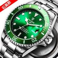 TEVISE Brand Noctilucent Green Kelpy Wrist Watch Man Quartz Watch Sport Steel Bring Waterproof Calendar Men Watch