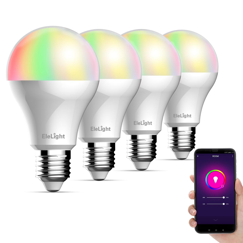 4 pièces Elelight Smart WiFi ampoule LED Dimmable lampe à LED lumière rvb pour l'éclairage de la maison de décor