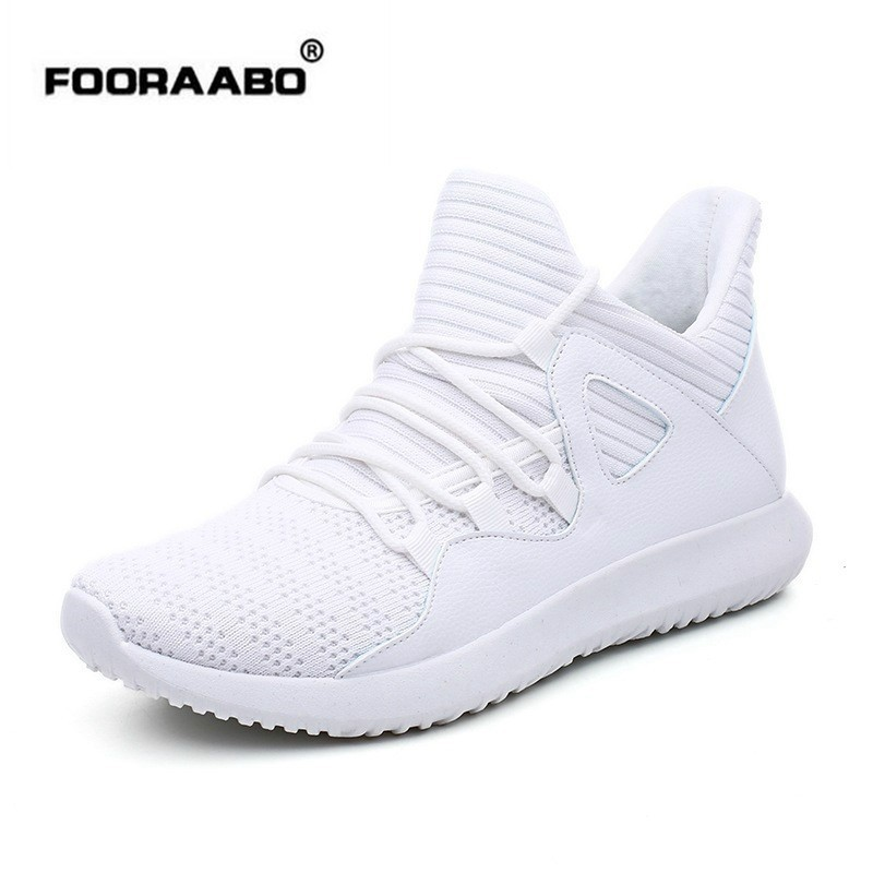 Fooraabo Branco Respirável Homem Sapatos Casuais Tenis Masculino Adulto Masculino Confortável Tênis Preto Tamanho Grande Cestas Homme 47 48