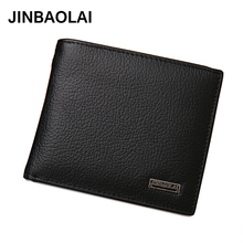 JINBAOLAI  New Men Wallets Cow Leather Purse Men Card Holder Casual Wallet Man Leather Genuine Coin Pocket Wallet mara s dream 2017 new genuine cow leather long wallet men real leather clutch wallets casual men s billfold card checkbook