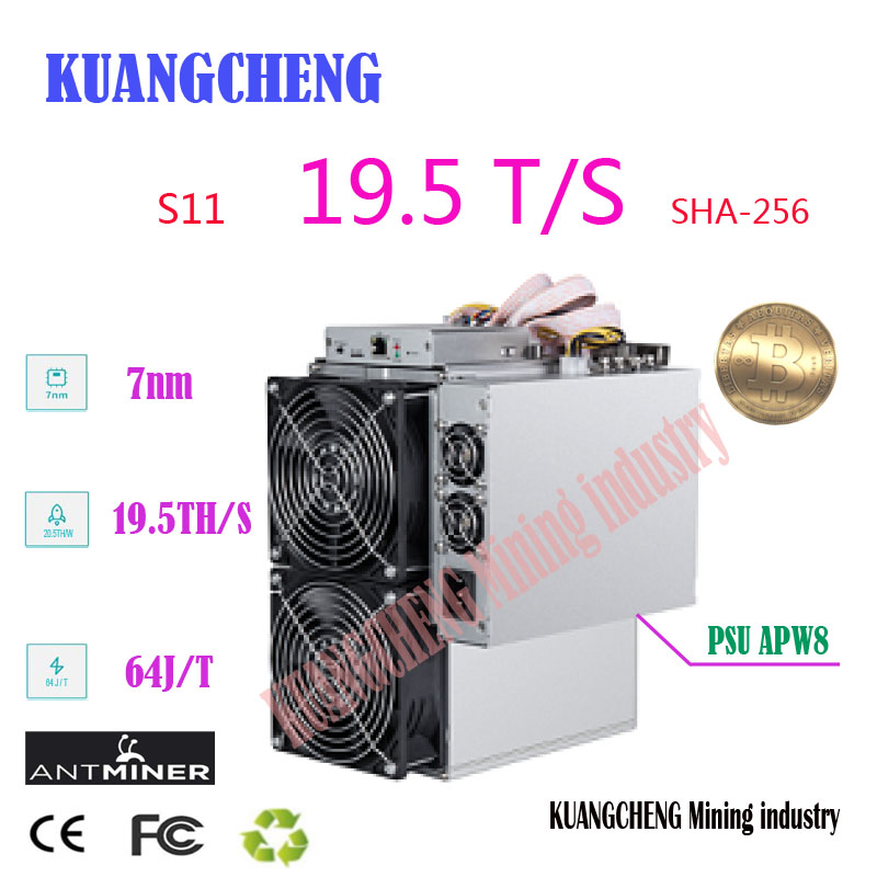 USED  16nm Asic BTC BCH SHA-256 Miner AntMiner S11 19.5T With PSU Bitcoin Miner Better Than S9 S9i S9j T15 Z9 WhatsMiner M3 M10