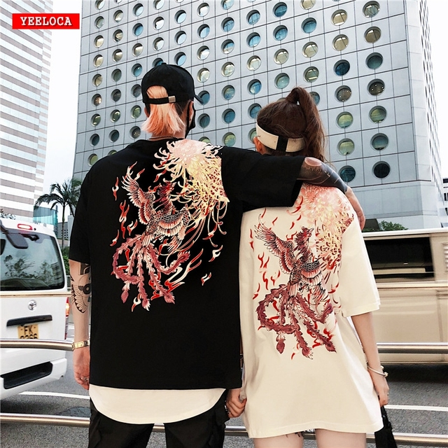 2019 Summer Dropshipping Summer Brand Design Phoenix Flower Print Short Sleeve Shirt Couple Men and Women Cotton T-Shirt