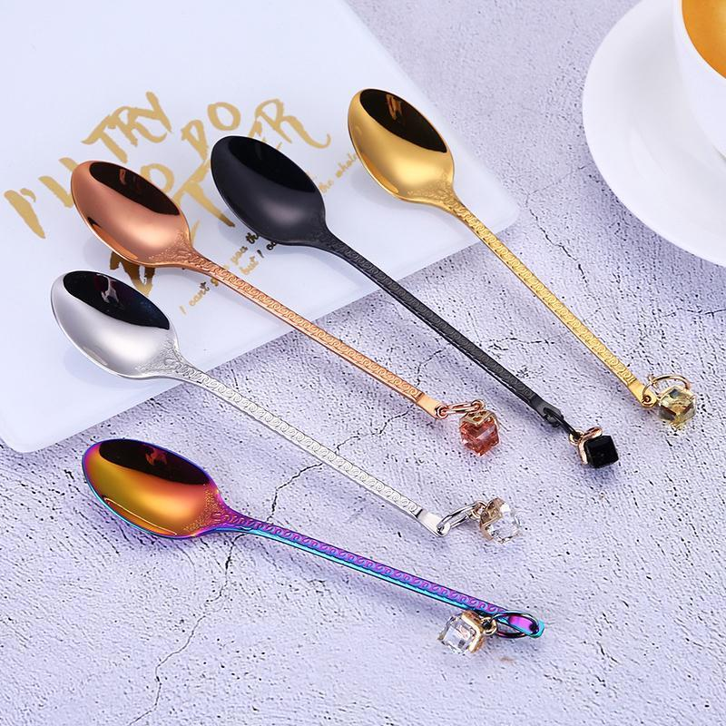 Stainless Steel Spoon With Pendant Handle Colorful Mixing ...