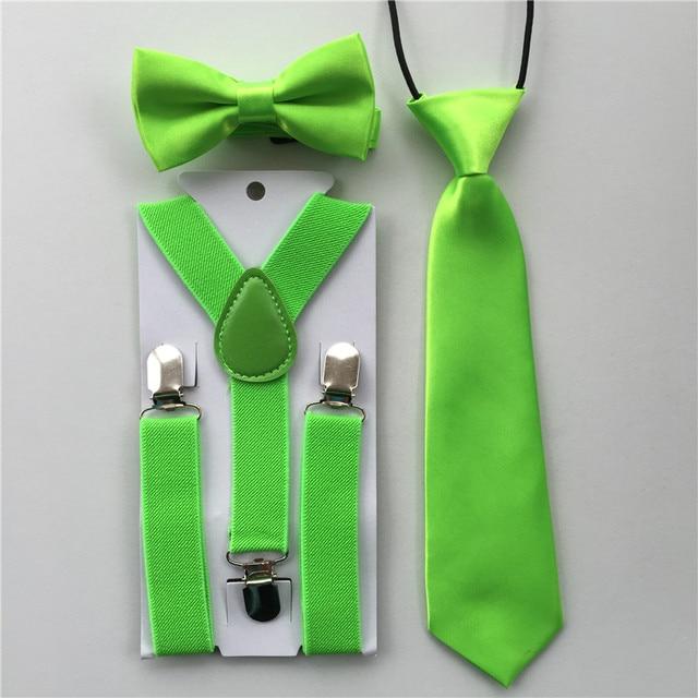 13893824593a New Design Kids Boys Girls Bow Tie Necktie Suspenders Bowtie Set Elastic  Adjustable School Party Clothing Accessories