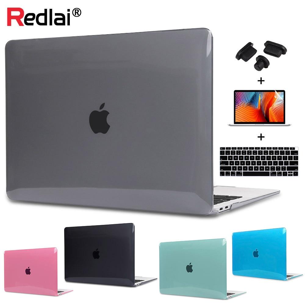 Redlai Cristal Shell de Plástico Rígido 11 13 Protetor de Tela Tampa Do Teclado Para MacBook Air 2019 Pro Retina 13 15 Toque caso bar