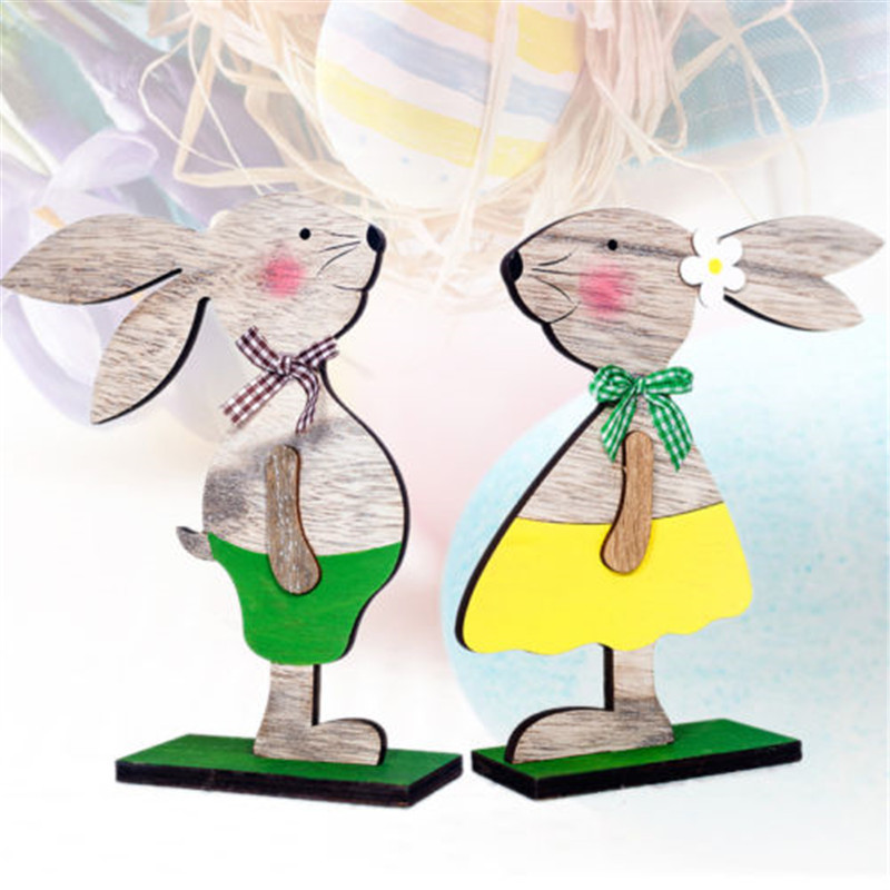 Kids Easter Holiday Gift Wooden Ornament Rabbit Bunny Figurine Home Decoration
