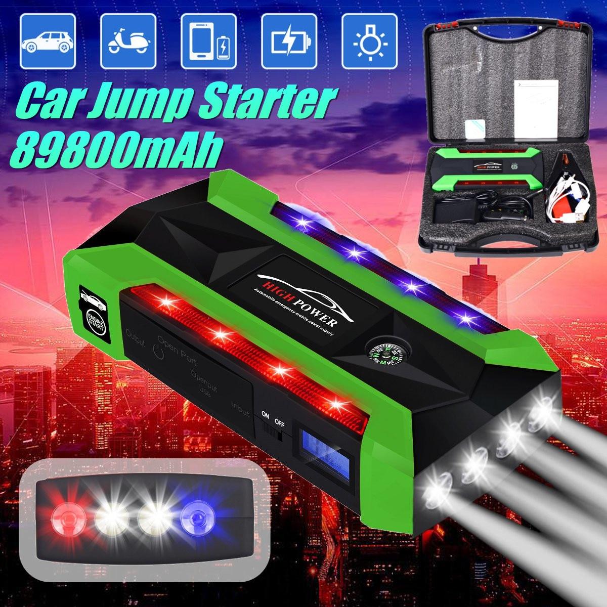Chargeur de batterie de secours Portable multifonction 89800 mAh démarreur de saut de voiture 4 lampes USB batterie externe dispositif de démarrage US/UK/AU/EU