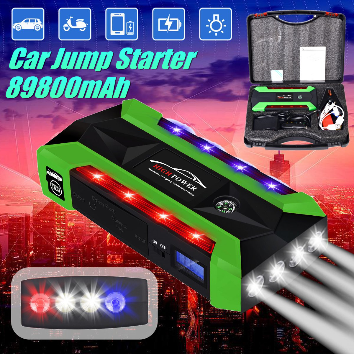 все цены на Multi-Function Portable 89800mAh Emergency Battery Charger Car Jump Starter 4 Lamp USB Power Bank Starting Device US/UK/AU/EU онлайн