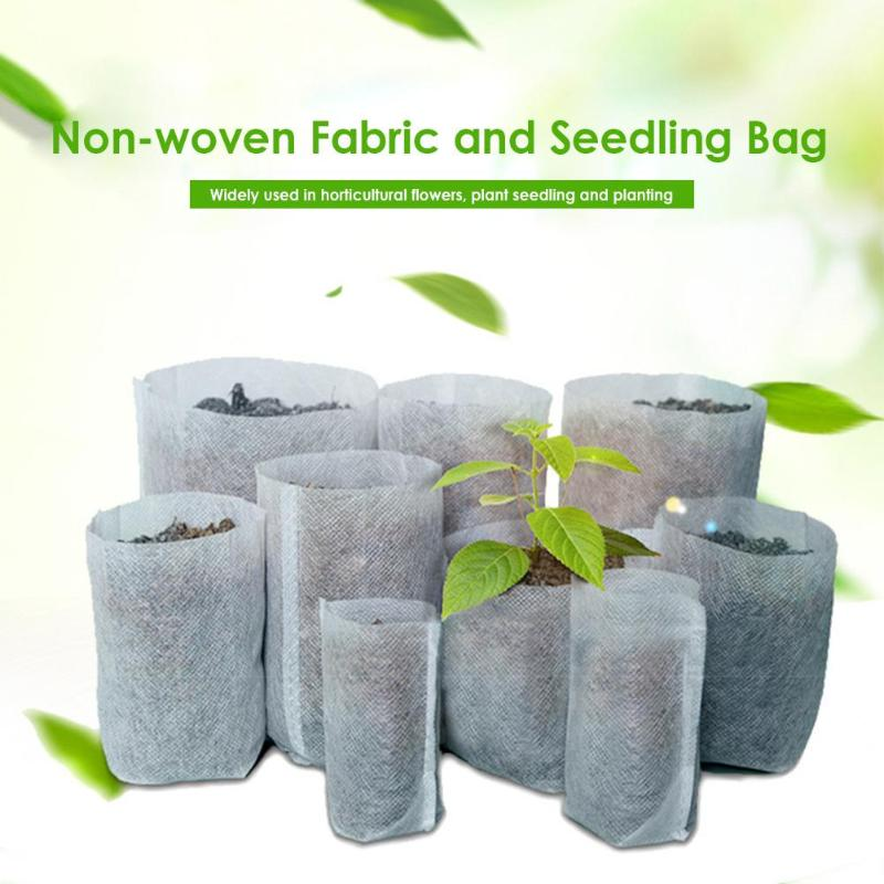 100pcs Biodegradable Plant Grow Bags Non-woven Fabric Seedling Pots Eco-Friendly Aeration Planting Bags Garden Supplies