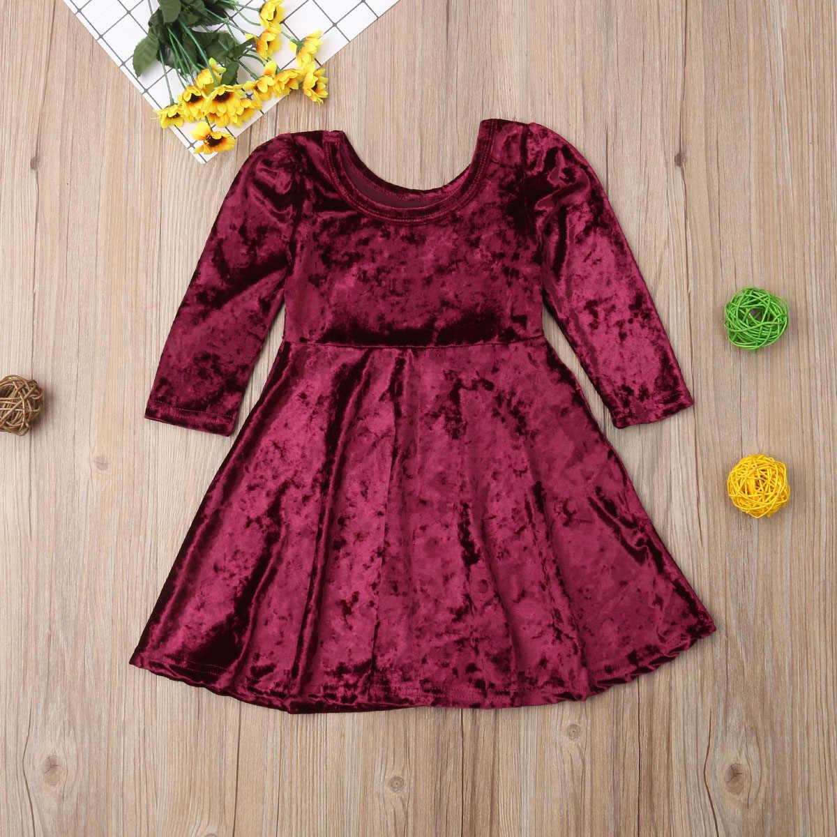 38102afc625 ... 1-6Y Toddler Kids Baby Girl Long Sleeve Wine Red Velvet Dress Princess  Girls A