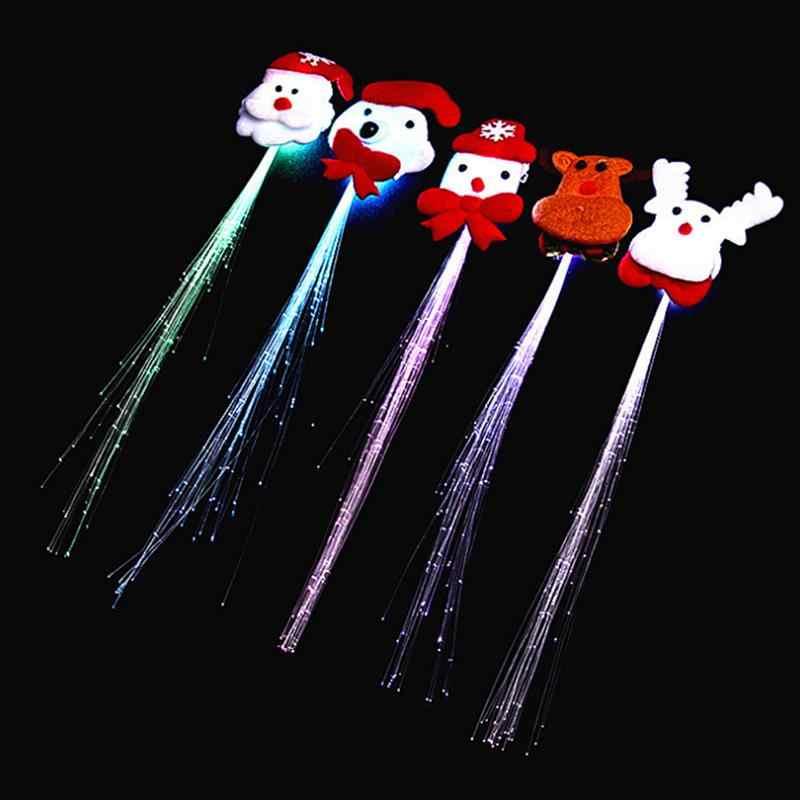 2 шт. девушки парики накаливания фонарик светодио дный волос коса клип ориентир Хэллоуин Рождество День рождения игрушка случайный цвет