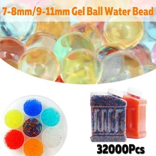 32000pcs/bag Crystal Soil Hydrogel Gel Polymer Water Beads Flower/Wedding/Decoration Growing Water Balls Big Home Decor 7-11mm