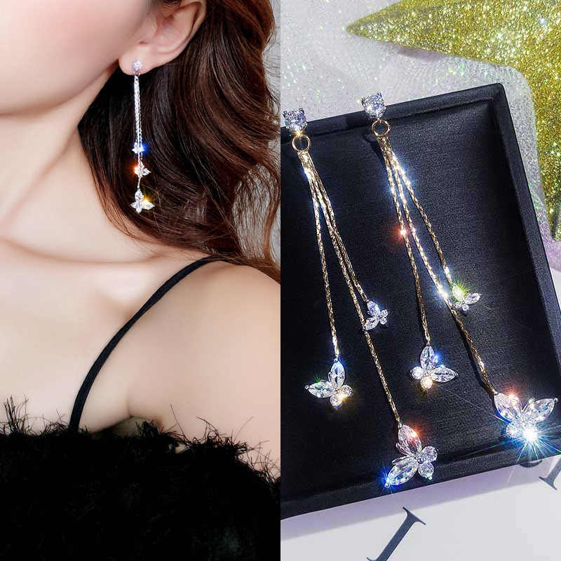 Fashion Eardrop Luxury Simple Jewelry Circles Star Butterfly Women Drop Dangle Trendy Crystal Tassel Shining Geometric Earrings