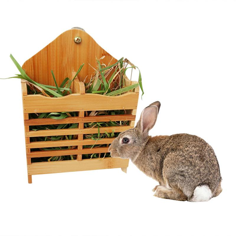 Hay Feeder Rabbit Bamboo Grass Stand Food Bowl Guinea Pig Chinchilla Grass Holder Small Pet Supplies Natural Wooden Hay Feeder image