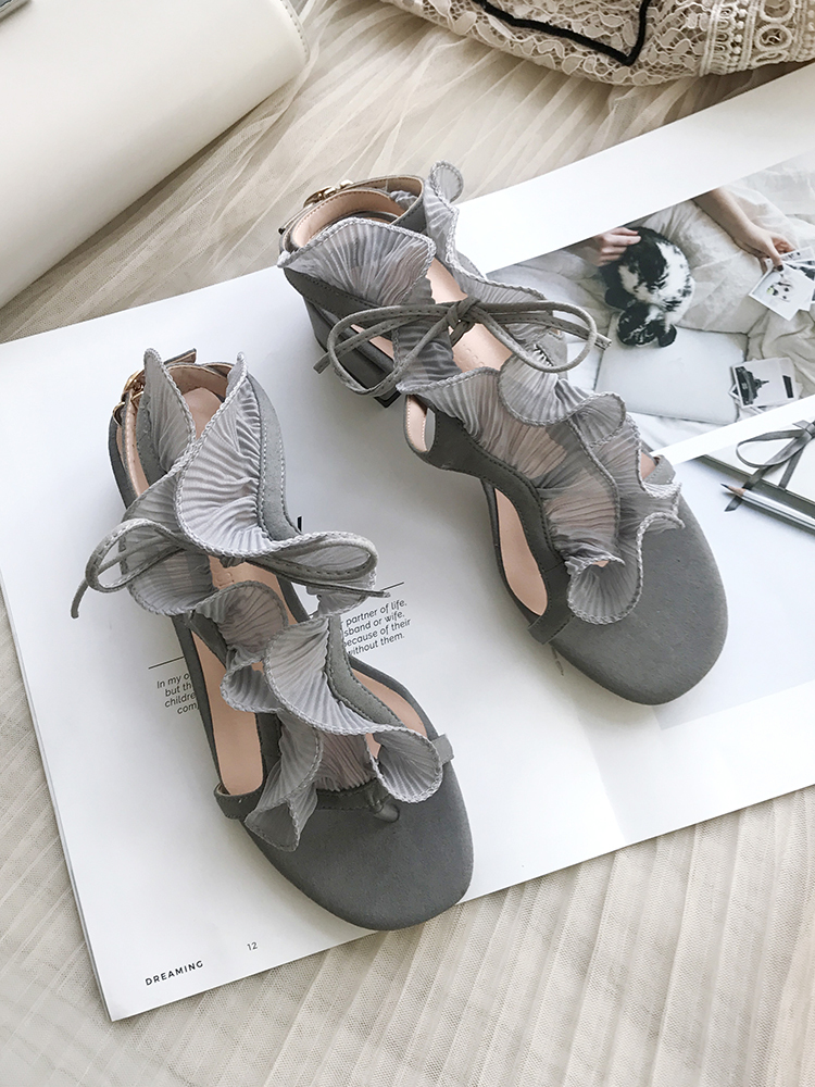 Mujeres Cristal Show Mujer Talón Diseño Las Sandalias Verano Especial Tacón Diamante Grueso Show Mediados as De As Decoración Flounce Zapatos Damas Bling wpqw80