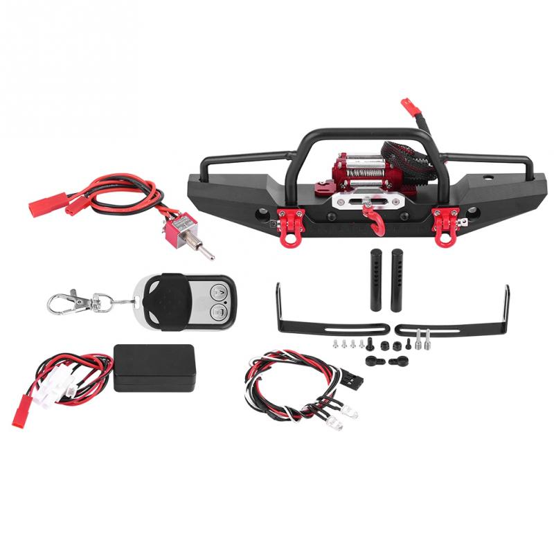Aluminum Alloy RC Crawler Winch Front Bumper with Winch for Traxxas Car 4 RC Car Crawler