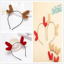 Lovely Christmas Elastic Reindeer Antlers Flower Headbands Party Xmas Decorative Hairband Headwear Cute Accessories(China)