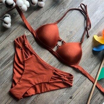 2020 Sexy Solid Black Bikini String Bikini Set Halter Swimsuit Backless Bathing Suit Women Brazilian Biquini Push Up Swimwear 4