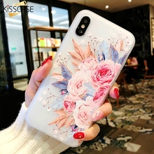 KISSCASE 3D Relief Bloom Case For iPhone 5 5S Se X Xs Max XR Soft Silicone Flowers Cases For iPhone 6 6S 7 8 Plus X Capinha Capa цена и фото