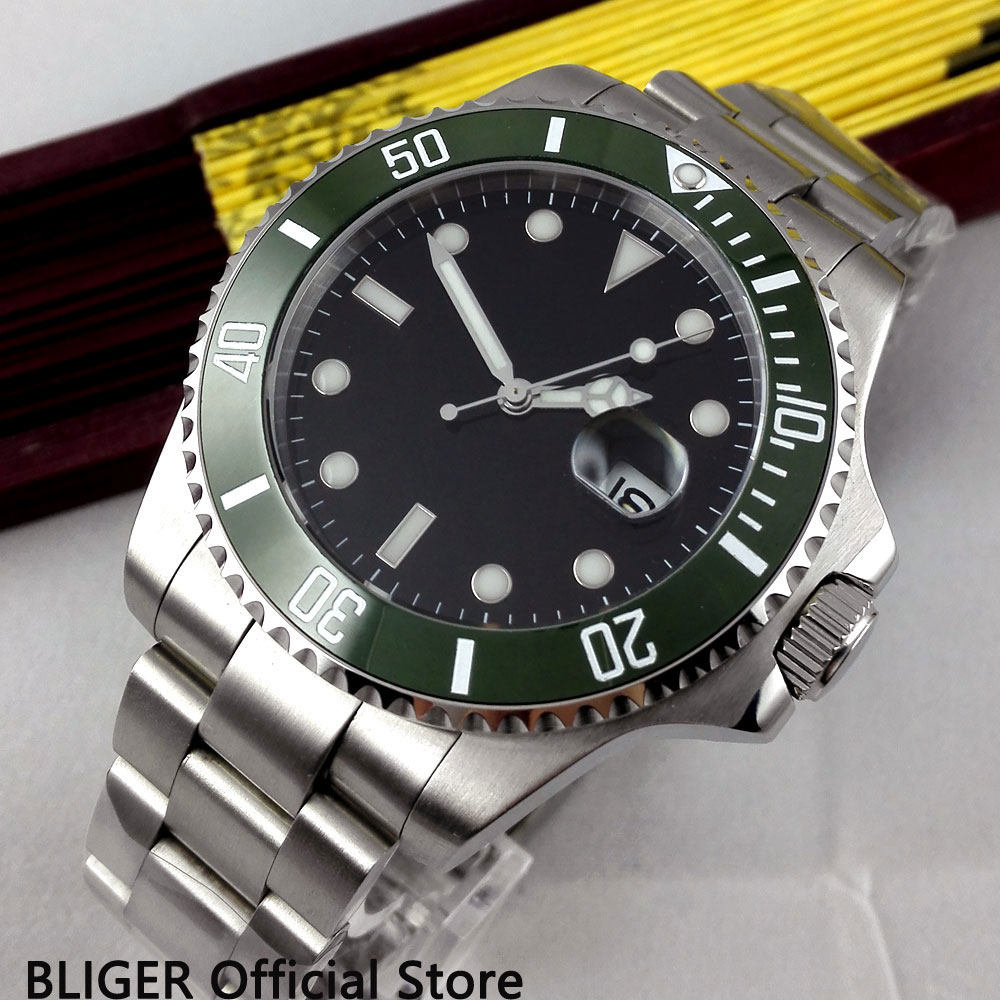 Special BLIGER 43mm Black dial super luminous sapphire glass green ceramic bezel MIYOTA Automatic movement mens watch men B301Special BLIGER 43mm Black dial super luminous sapphire glass green ceramic bezel MIYOTA Automatic movement mens watch men B301