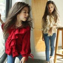 Рубашки для девочек детская зимняя одежда г. Весенние новые красные блузки с длинными рукавами хлопковые рубашки футболки с v-образным вырезом для девочек, детская одежда, топы
