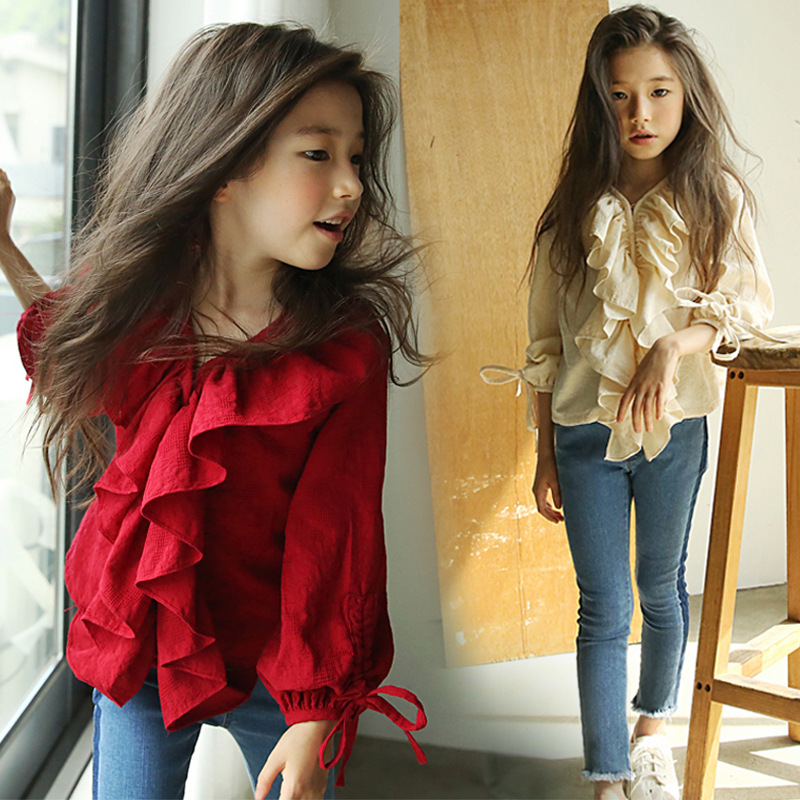 Girls Shirts Kids Winter Clothes 2019 Spring New Long-sleeved Red Blouses Cotton Shirts Girls V-neck Tees Children Clothing Tops