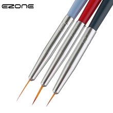EZONE 3PCS Nylon Hair Paint Brush Wood Handel Different Size Hook Line Pen For Nail Art Watercolor Oil Acrylic Painting Art Tool