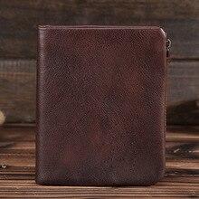 New Genuine Leather Mens Wallet Man zipper Short Money Purse Brand Male Cowhide Credit id Wallet Multifunction Small Wallets