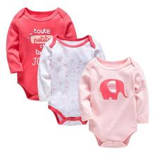 JOCESTYLE 3pcs/Set Newborn Baby Girl Cotton Romper Print
