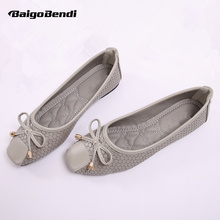 Ladies Trendy Square Toe Serpentine Ballet Flats Light Weight Bow Woman Casual Shoes Four Seasons